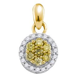 0.25 CTW Yellow Color Diamond Circle Cluster Pendant 10KT Yellow Gold - REF-16Y4X