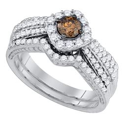 1.15 CTW Cognac-brown Diamond Halo Bridal Ring 14KT White Gold - REF-127H4M