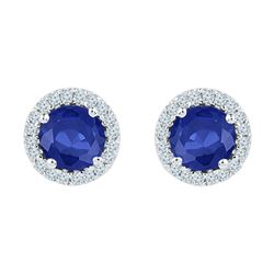 1.5 CTW Created Blue Sapphire Diamond Stud Earrings 10KT White Gold - REF-19W4K