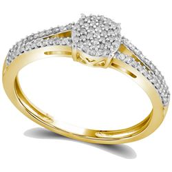 0.20 CTW Diamond Split-shank Circle Cluster Ring 10KT Yellow Gold - REF-19X4Y