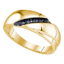 0.10 CTW Mens Black Color Diamond Ring 10KT Yellow Gold - REF-22W4K