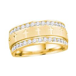 0.50 CTW Mens Channel-set Diamond Cross Wedding Ring 14KT Yellow Gold - REF-82X5Y