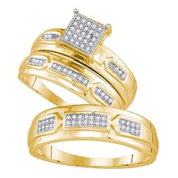 0.20 CTW His & Hers Diamond Cluster Matching Bridal Ring 10KT Yellow Gold - REF-47X9Y