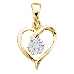 0.08 CTW Diamond Flower Cluster Heart Pendant 10KT Yellow Gold - REF-10M5H