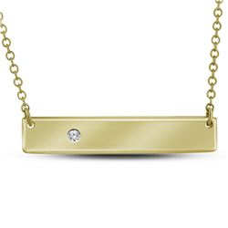 0.02 CTW Diamond Rectangle Bar Necklace 10KT Yellow Gold - REF-19H4M