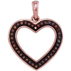 0.10 CTW Red Color Diamond Heart Love Pendant 10KT Rose Gold - REF-14K9W