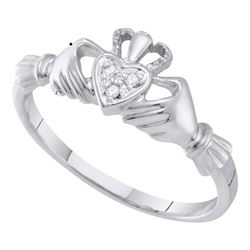 0.01 CTW Diamond Claddagh Heart Ring 10KT White Gold - REF-8W9K