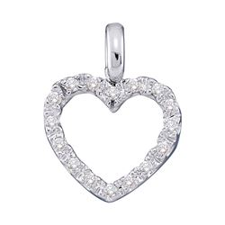 0.10 CTW Diamond Heart Love Pendant 10KT White Gold - REF-7W4K