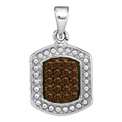 0.20 CTW Cognac-brown Color Diamond Cluster Tag Pendant 10KT White Gold - REF-9M7H