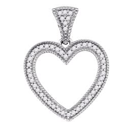 0.15 CTW Diamond Heart Love Pendant 10KT White Gold - REF-19H4M