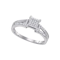 0.15 CTW Diamond Square Cluster Bridal Wedding Engagement Ring 10KT White Gold - REF-16K4W