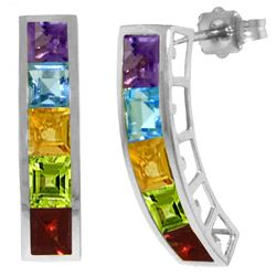 Genuine 4.5 ctw Multi-gemstones Earrings Jewelry 14KT White Gold - REF-38Z5N