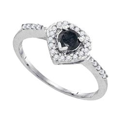 0.50 CTW Black Color Diamond Heart Ring 10KT White Gold - REF-22H4M