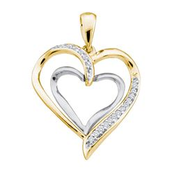 0.10 CTW Diamond Double Nested Heart Pendant 10KT Yellow Gold - REF-12Y2X