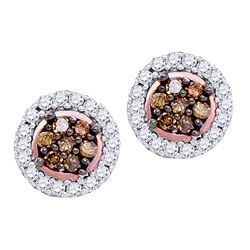 0.25 CTW Cognac-brown Color Diamond Flower Stud Earrings 10KT Rose Gold - REF-14K9W