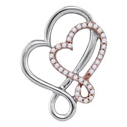 0.15 CTW Diamond Heart Love Pendant 10KT Two-tone Gold - REF-16W4K
