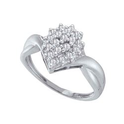 0.25 CTW Prong-set Diamond Oval Cluster Ring 10KT White Gold - REF-20W9K