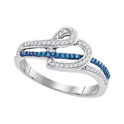 0.20 CTW Blue Color Diamond Heart Ring 10KT White Gold - REF-19K4W