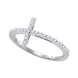 0.20 CTW Diamond Cross Slender Ring 10KT White Gold - REF-14N9F