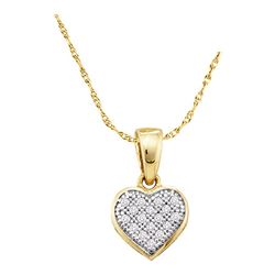 0.05 CTW Diamond Simple Heart Love Cluster Pendant 10KT Yellow Gold - REF-6Y2X