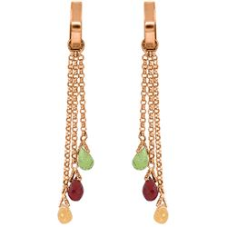 Genuine 4.9 ctw Garnet, Peridot & Citrine Earrings Jewelry 14KT Rose Gold - REF-43X6M