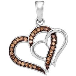 0.25 CTW Cognac-brown Color Diamond Double Linked Heart Pendant 10KT White Gold - REF-16N4F