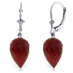 Genuine 26.1 ctw Ruby Earrings Jewelry 14KT White Gold - REF-37T8A