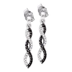 0.15 CTW Black Color Diamond Infinity Dangle Earrings 14KT White Gold - REF-22N4F