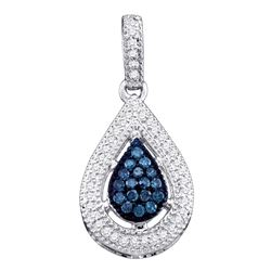 0.20 CTW Blue Color Diamond Teardrop Cluster Pendant 14KT White Gold - REF-20K9W