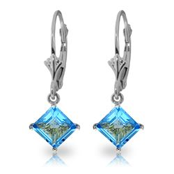 Genuine 3.2 ctw Blue Topaz Earrings Jewelry 14KT White Gold - REF-30K2V