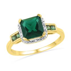 0.21 CTW Princess Created Emerald Solitaire Ring 10KT Yellow Gold - REF-14K9W