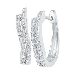 0.20 CTW Diamond Hoop Earrings 10KT White Gold - REF-19F4N