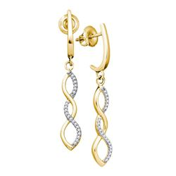 0.14 CTW Diamond Infinity Dangle Earrings 10KT Yellow Gold - REF-14W9K