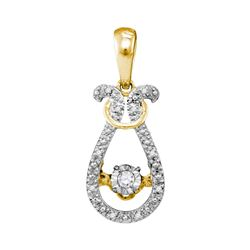 0.05 CTW Diamond Bound Teardrop Twinkle Solitaire Pendant 10KT Yellow Gold - REF-13M4H