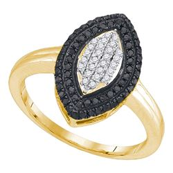 0.40 CTW Black Color Diamond Cluster Ring 10KT Yellow Gold - REF-22H4M