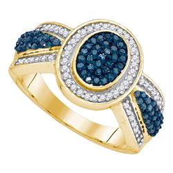 0.50 CTW Blue Color Diamond Oval Cluster Ring 10KT Yellow Gold - REF-37H5M