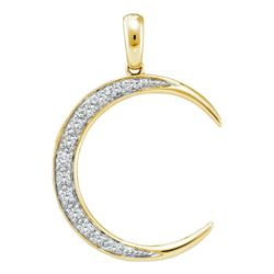 0.15 CTW Diamond Crescent Moon Pendant 14KT Yellow Gold - REF-24F2N