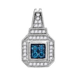 0.35 CTW Blue Color Diamond Square Cluster Pendant 10KT White Gold - REF-19M4H