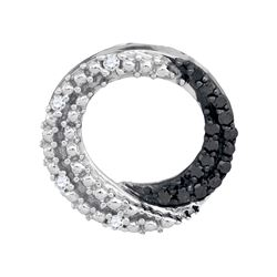 0.15 CTW Black Color Diamond Circle Pendant 10KT White Gold - REF-12W8K