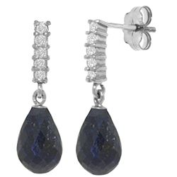 Genuine 6.75 ctw Sapphire & Diamond Earrings Jewelry 14KT White Gold - REF-39W4Y