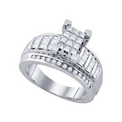 0.85 CTW Princess Diamond Cindy's Dream Cluster Bridal Ring 10KT White Gold - REF-53M9H