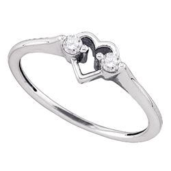 0.12 CTW Diamond Heart Love Promise Bridal Ring 10KT White Gold - REF-13K4W