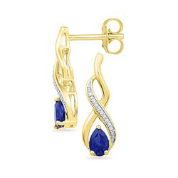 0.06 CTW Pear Created Blue Sapphire Diamond Stud Earrings 10KT Yellow Gold - REF-18K2W