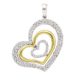 0.50 CTW Diamond Heart Love Pendant 14KT White Gold - REF-57N2F