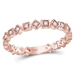 0.11 CTW Diamond Squares Stackable Ring 10KT Rose Gold - REF-19Y4X