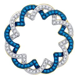 0.33 CTW Blue Color Diamond Circle Pendant 10KT Yellow Gold - REF-22N4F