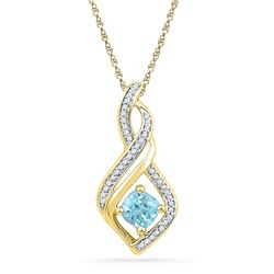 0.72 CTW Blue Topaz Solitaire Diamond Pendant 10KT Yellow Gold - REF-16H4M