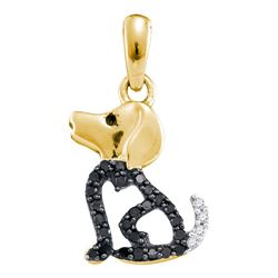 0.13 CTW Black Color Diamond Puppy Dog Doggy Animal Pendant 10KT Yellow Gold - REF-8W9K