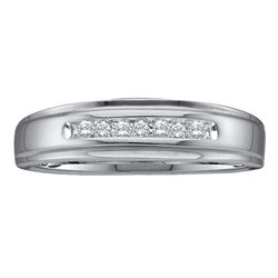 0.08 CTW Mens Diamond Channel-set Anniversary Ring 10KT White Gold - REF-14K9W