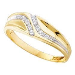 0.13 CTW Mens Diamond Double Row Slender Wedding Ring 10KT Yellow Gold - REF-14W9K